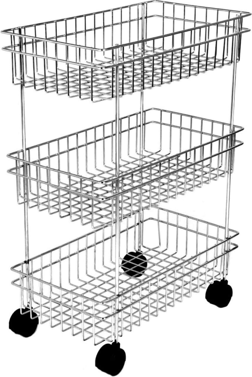 2107 3Layer Floor-Standing Multi-Purpose Storage Organiser Rack Cart with Wheels