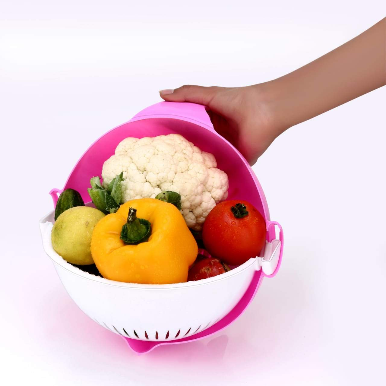 Multifunctional Vegetable Fruits Cutter Shredder with Rotating Drain Basket