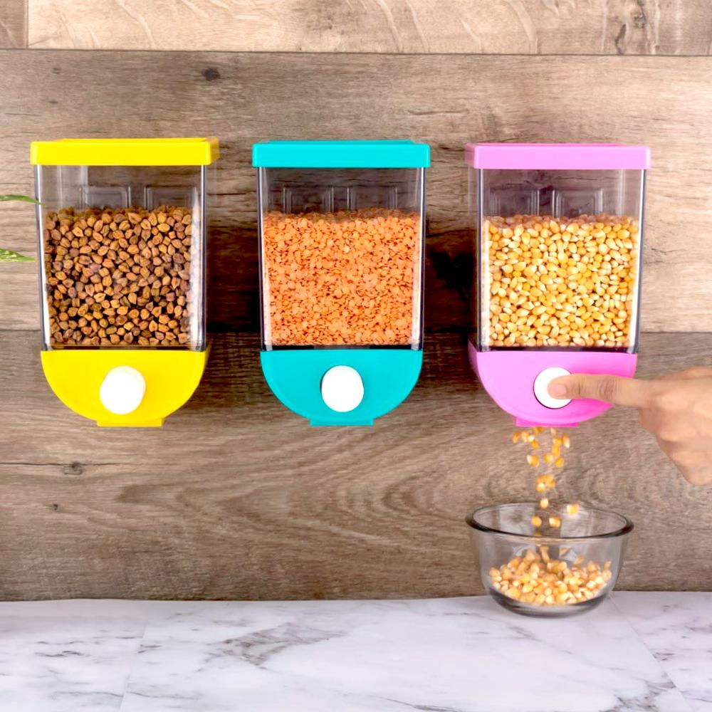 2259 Wall Mounted Cornflakes/Cereal/Pulses/Beans/Oatmeal/Candy/Namkeen/Dry Food Storage Box/Tank - 1100 ml (assorted color) (1Pc)