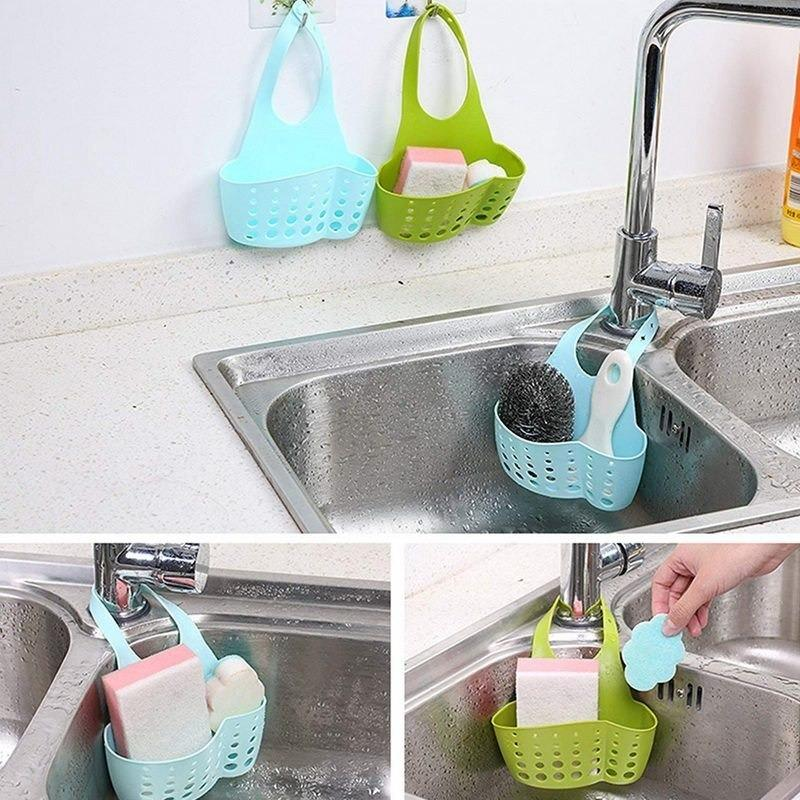 0762 Adjustable Kitchen Bathroom Water Drainage Plastic Basket/Bag with Faucet Sink Caddy