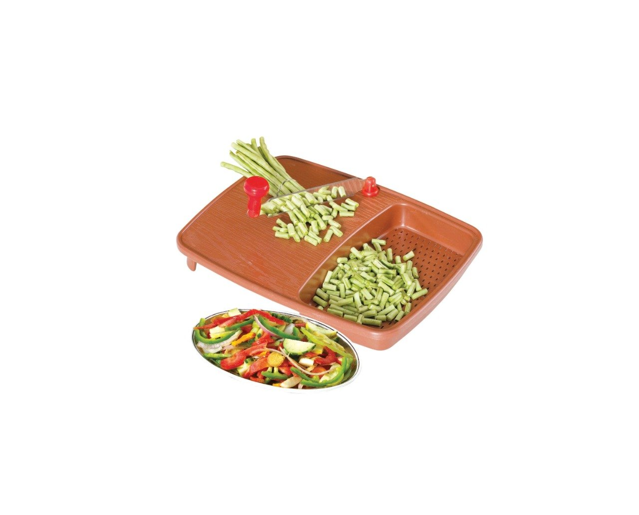 2103 Thick Plastic Kitchen Chopping Cutting Slicing Tray with Holder