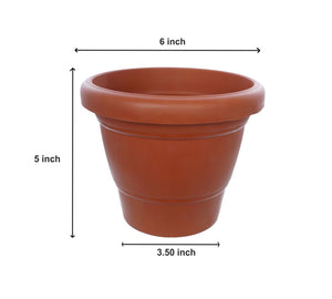 0839 Garden Heavy Plastic Planter Pot/Gamla 6 inch (Brown, Pack of 1, Small)