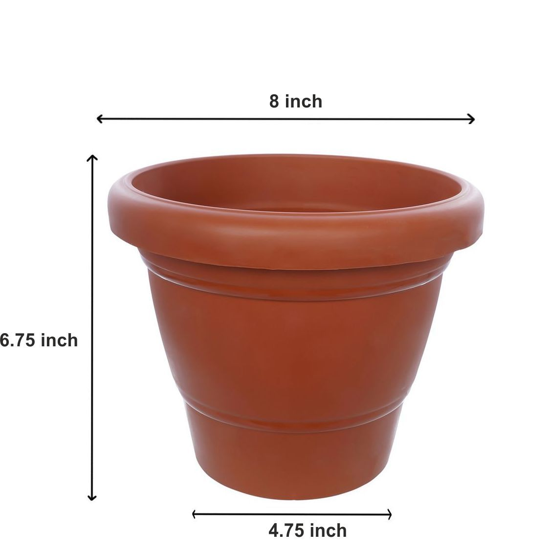 0838 Garden Heavy Plastic Planter Pot/Gamla 8 inch (Brown, Pack of 1,Medium )