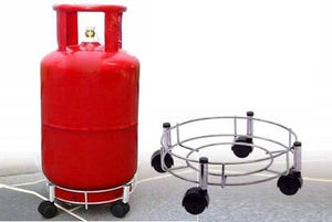 2156 Stainless Steel Gas Cylinder Trolley Stand with Wheels