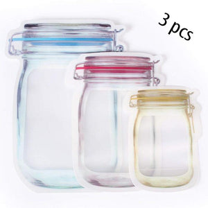 0855 Plastics Transparent Jar Shaped Stand-up Pouch With Zipper - DeoDap