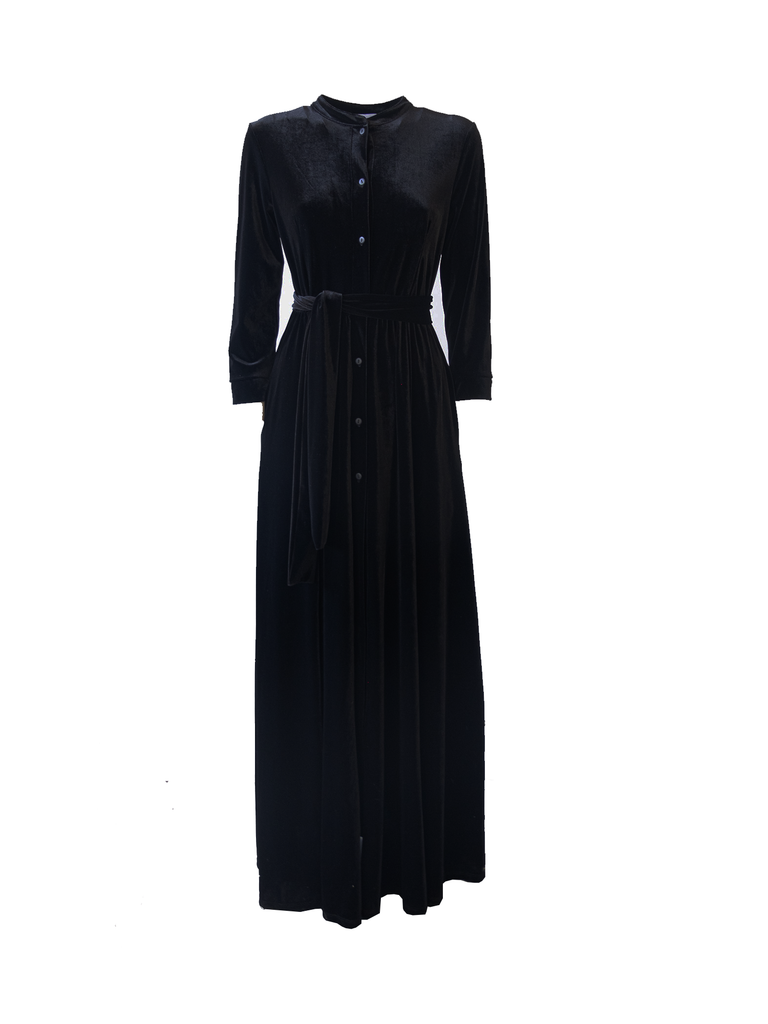 CLELIA - long chemisier dress in black chenille