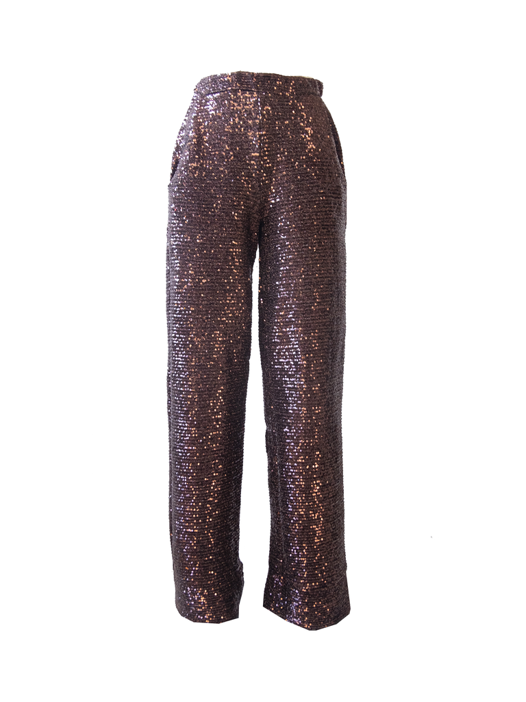 AIDA - palazzo trousers with side pockets in brown sequin