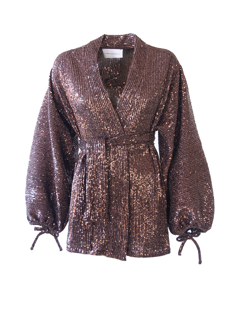 AMELIA - shirt with wide sleeve and sash in brown sequins
