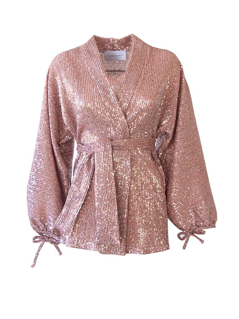 AMELIA - shirt with wide sleeve and sash in pink sequins