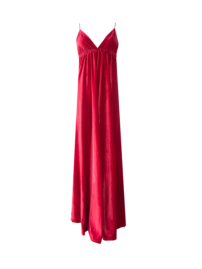 MICOL - long cross back dress in red chenille