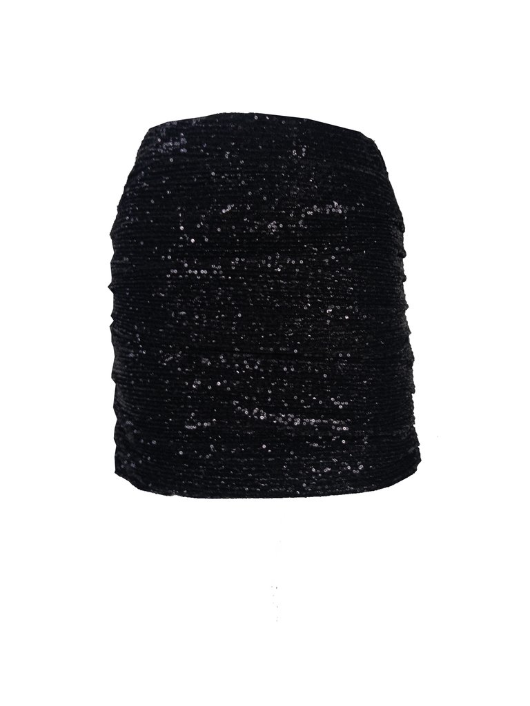 NINA - drap skirt in black sequin