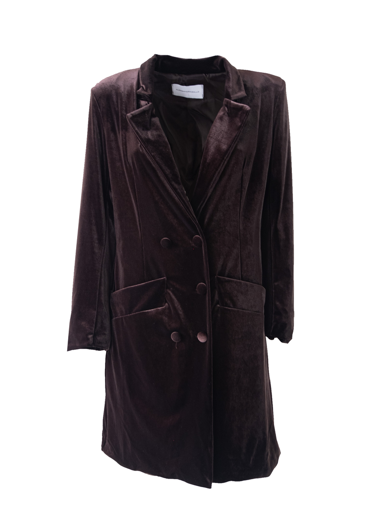 NORA - dress robe manteau in brown chenille