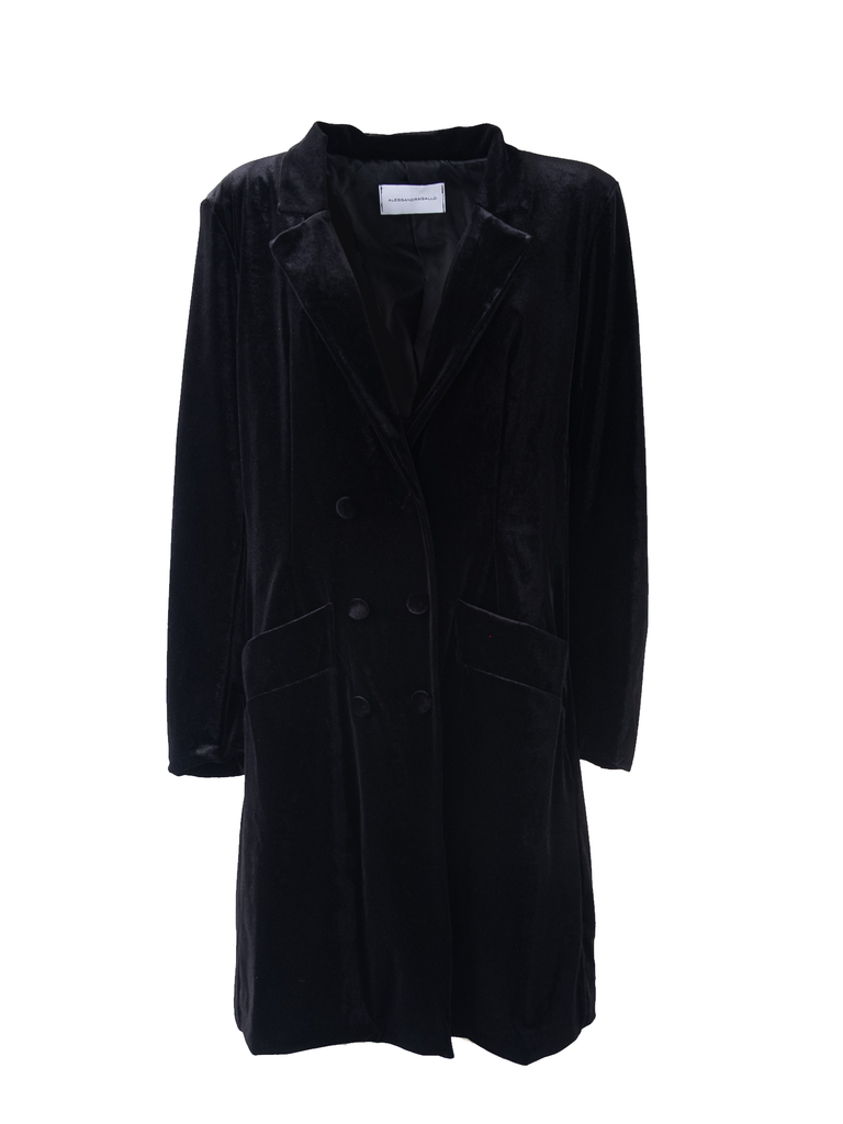 NORA - dress robe manteau in black chenille