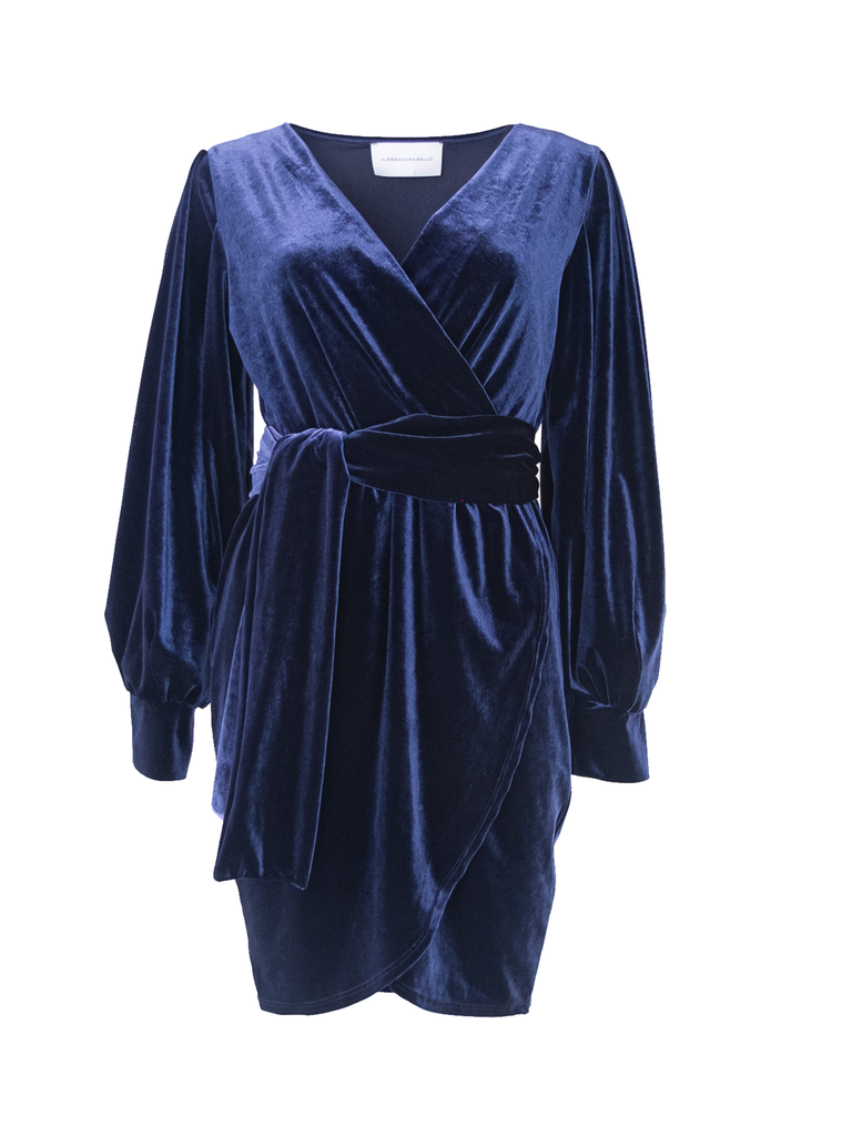 OFELIA - short dress with wide sleeve and sash in blue chenille