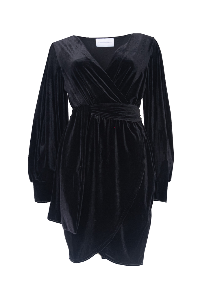 OFELIA - short dress with wide sleeve and sash in black chenille