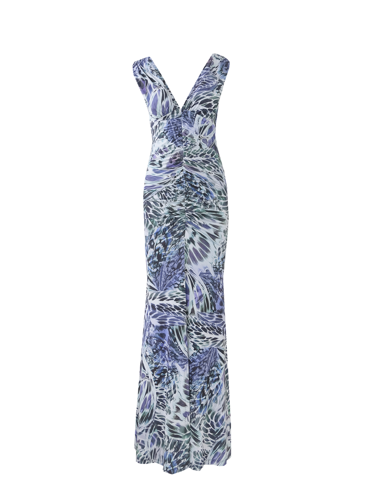 SELENE - long  sleeveless draped corset dress in print leaves lycra