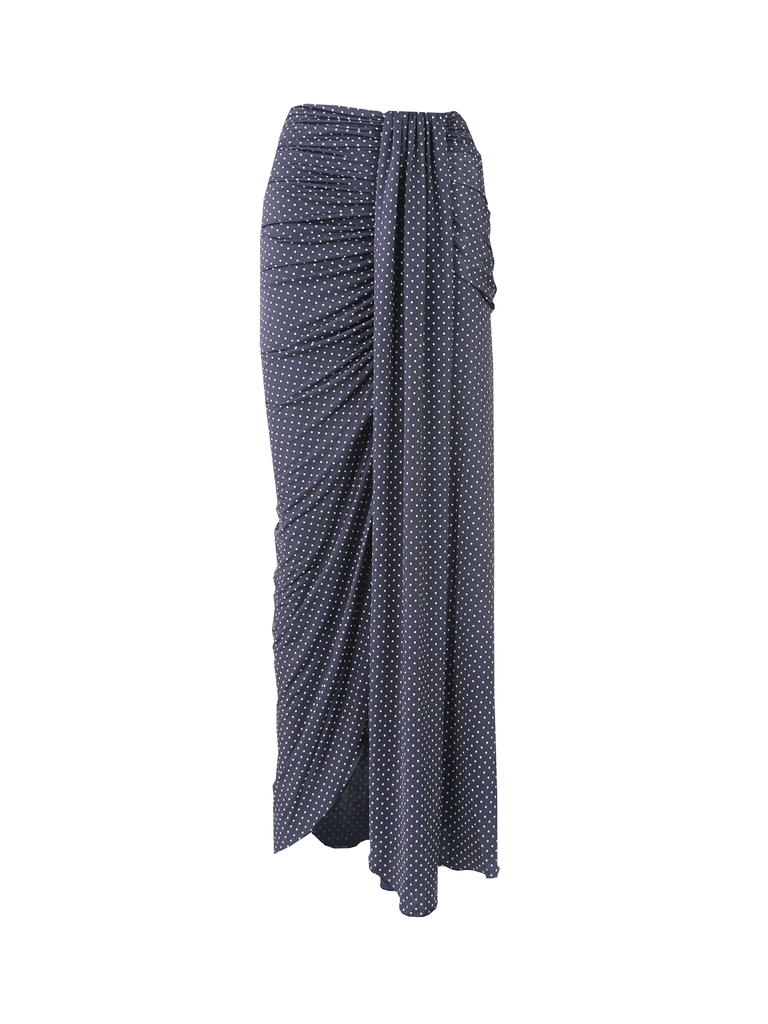 AMANDA - long skirt with slit in print pois lycra