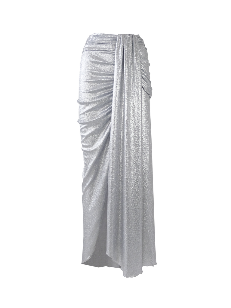 AMANDA - long skirt with slit in silver lurex