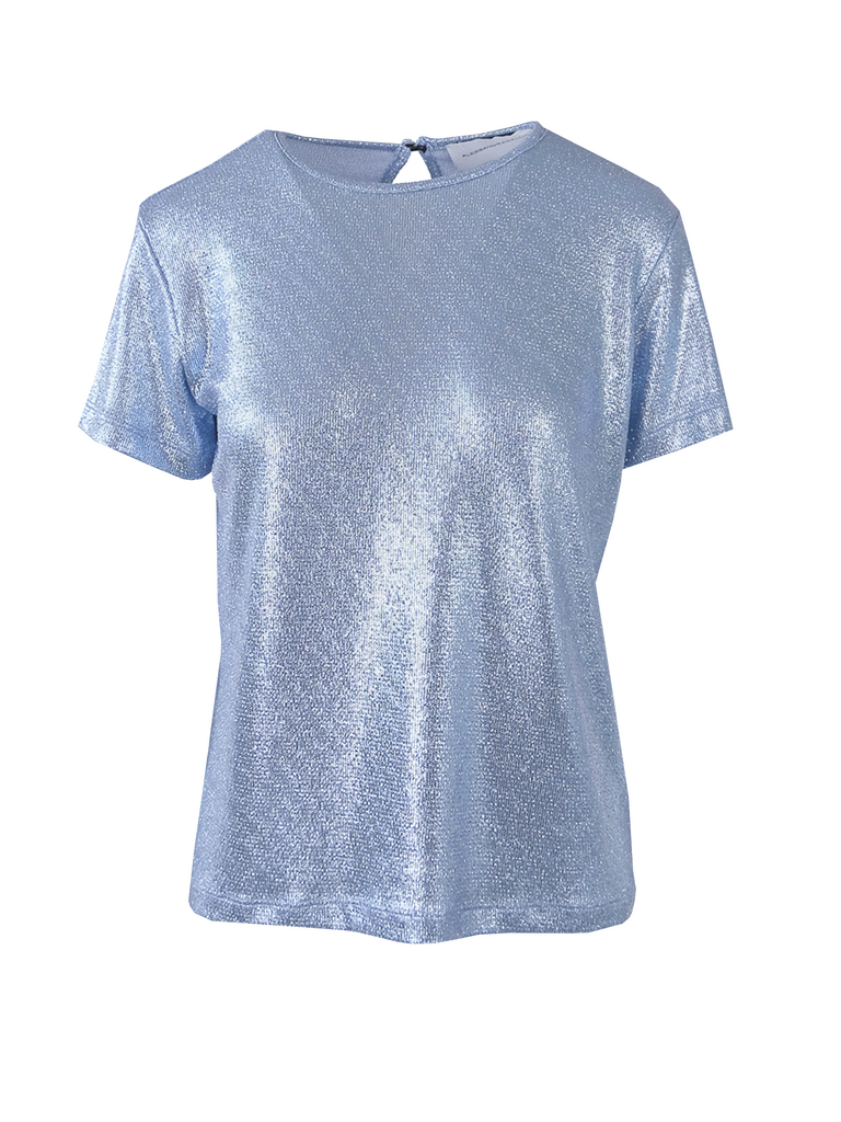 CARMEN - tshirt with short sleeves in light blue lurex