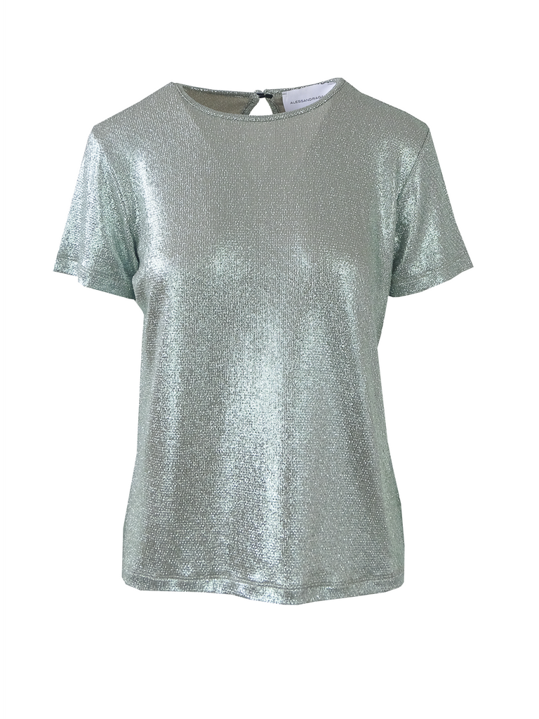 CARMEN - tshirt with short sleeves in pale green lurex