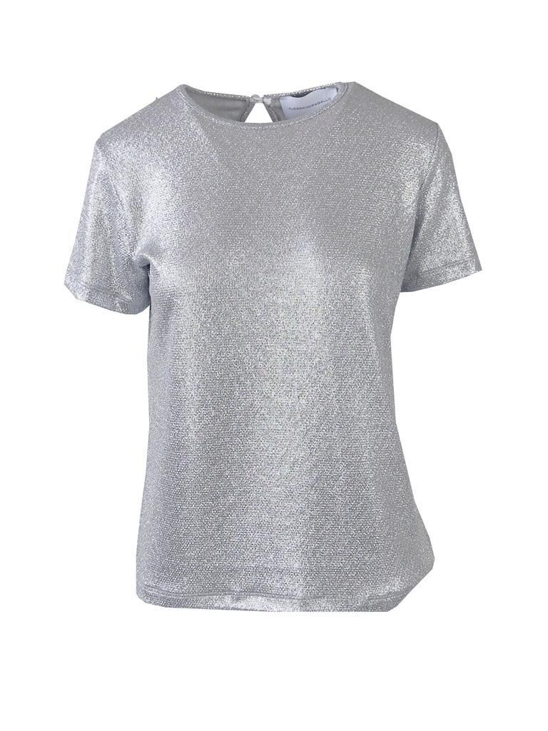 CARMEN - tshirt with short sleeves in silver lurex