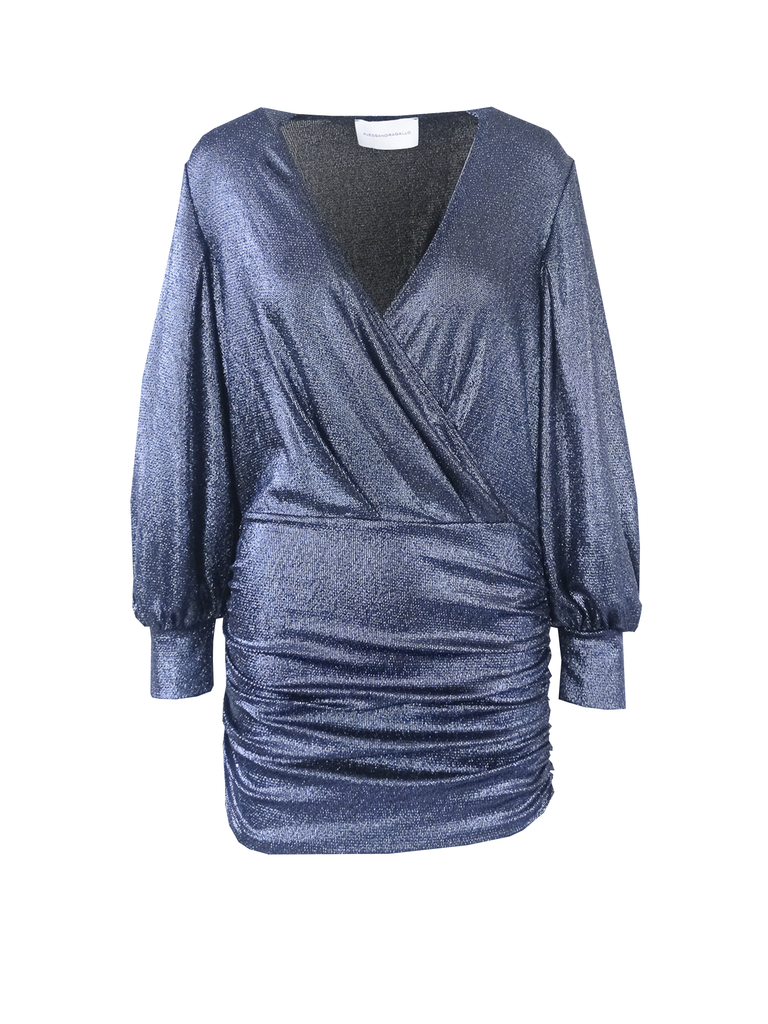 MIA -  v-neck dress with long sleeve in blue lurex