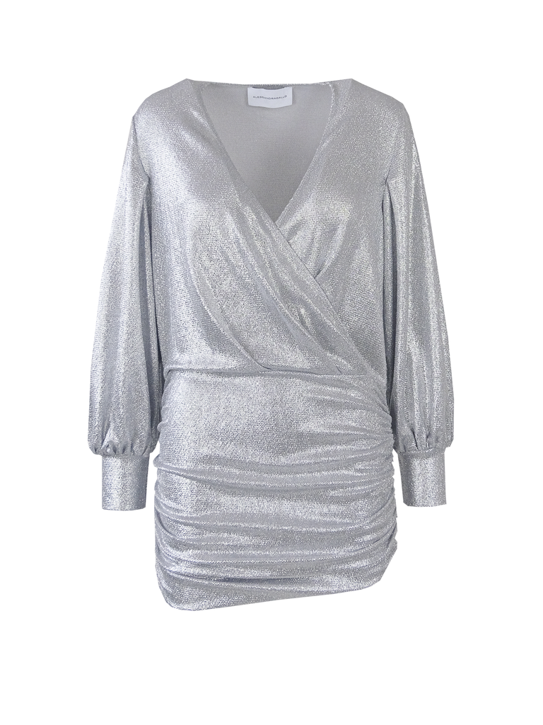 MIA -  v-neck dress with long sleeve in silver lurex