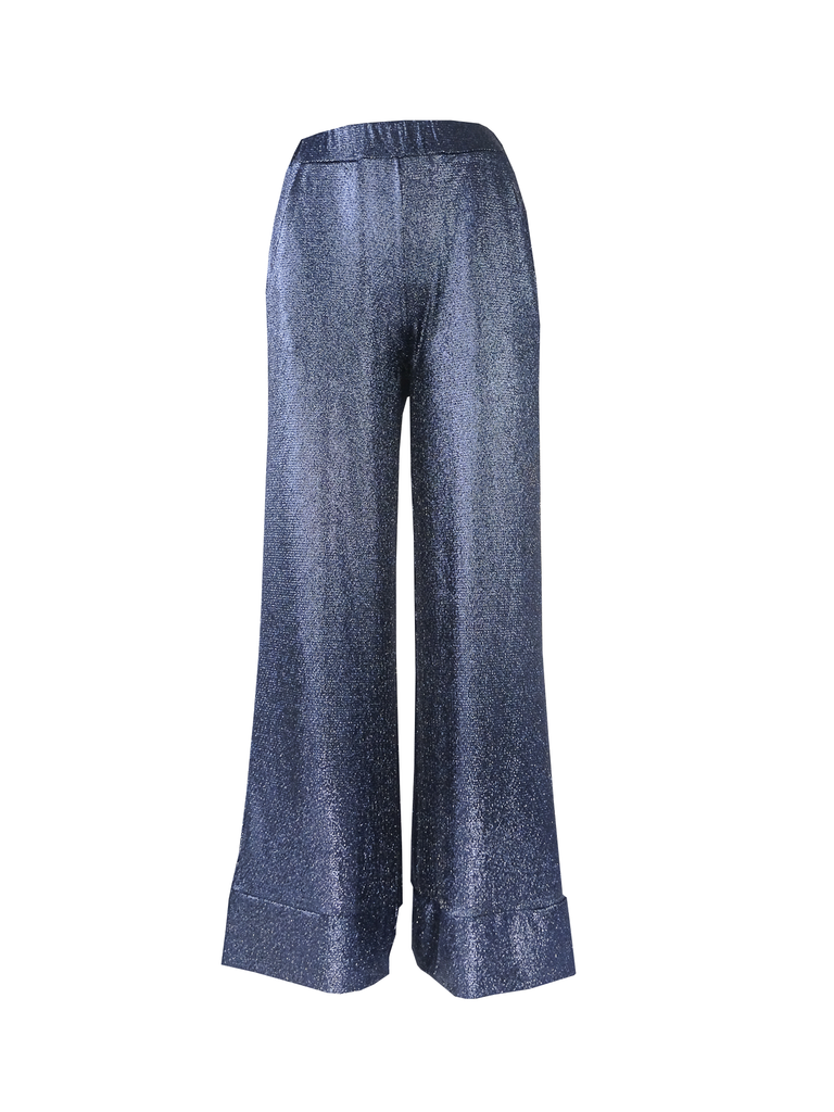 AIDA - palazzo trousers with side pockets in blue lurex