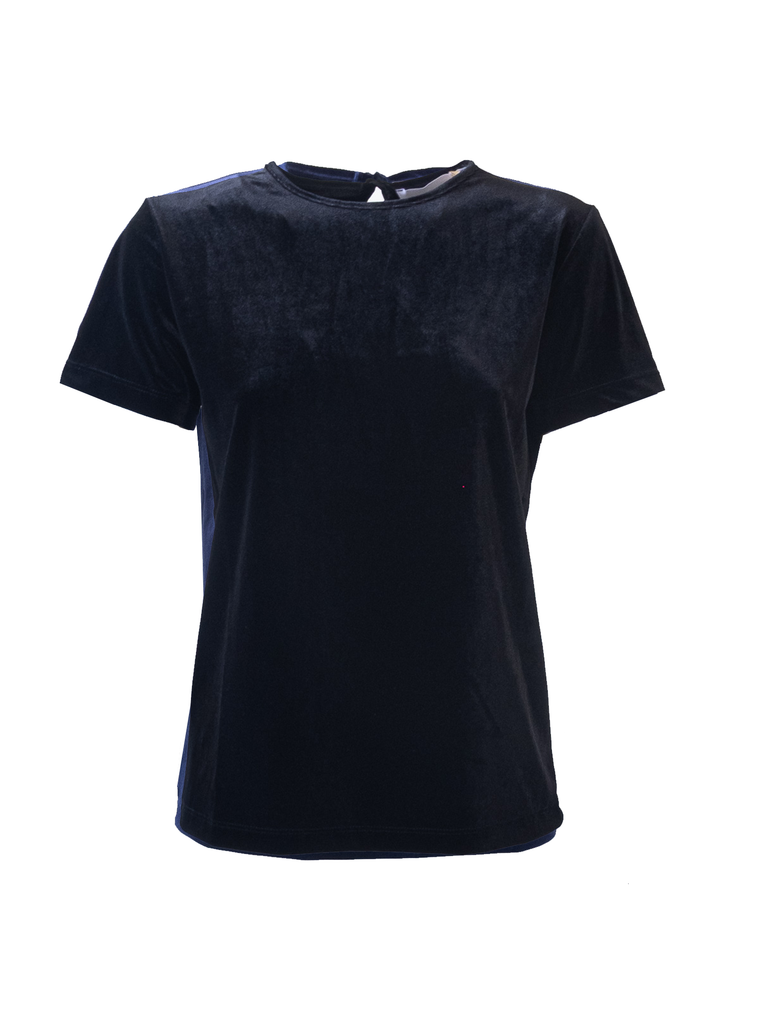 CARMEN - tshirt with short sleeves in black chenille