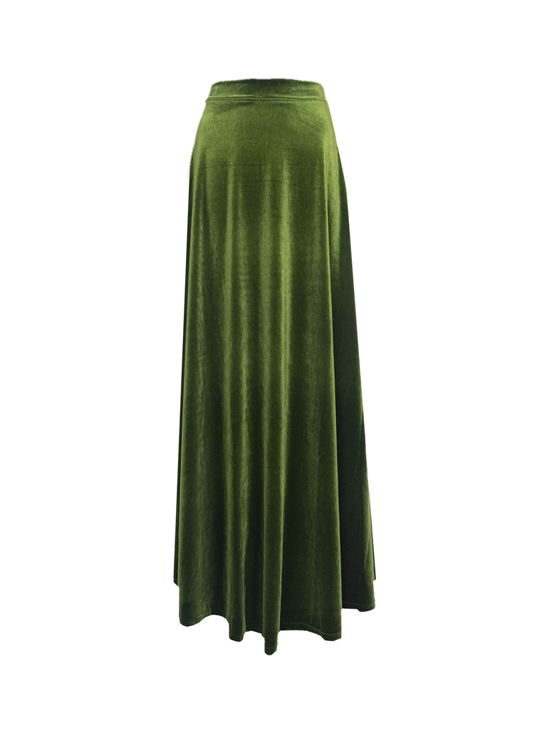 TOSCA - long skirt in green chenille