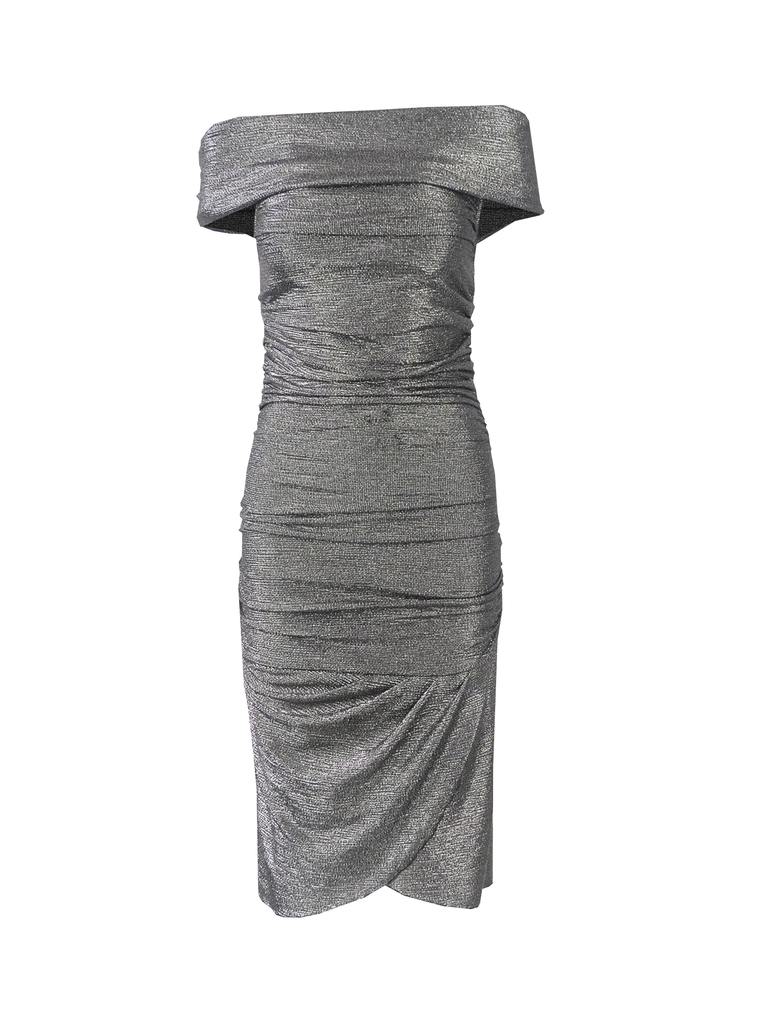 VIOLANTE - dress with bare shoulders in charcoal grey
