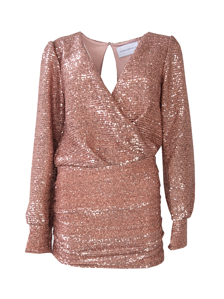 ZOE - short dress in pink sequin