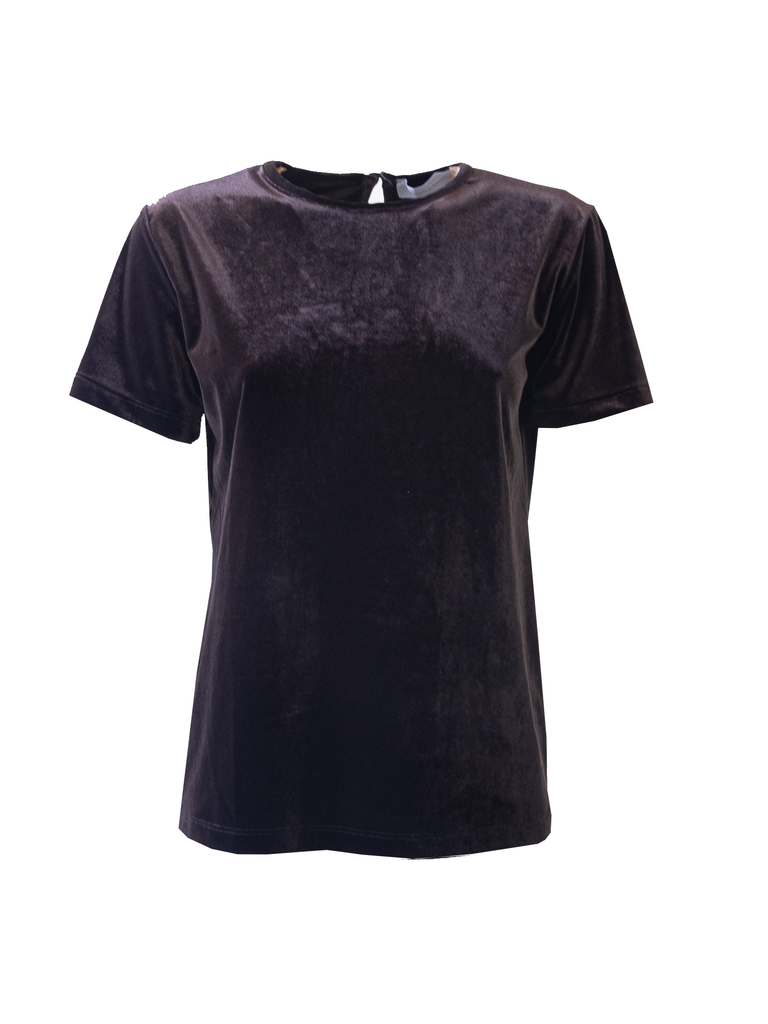 CARMEN - tshirt with short sleeves in brown chenille