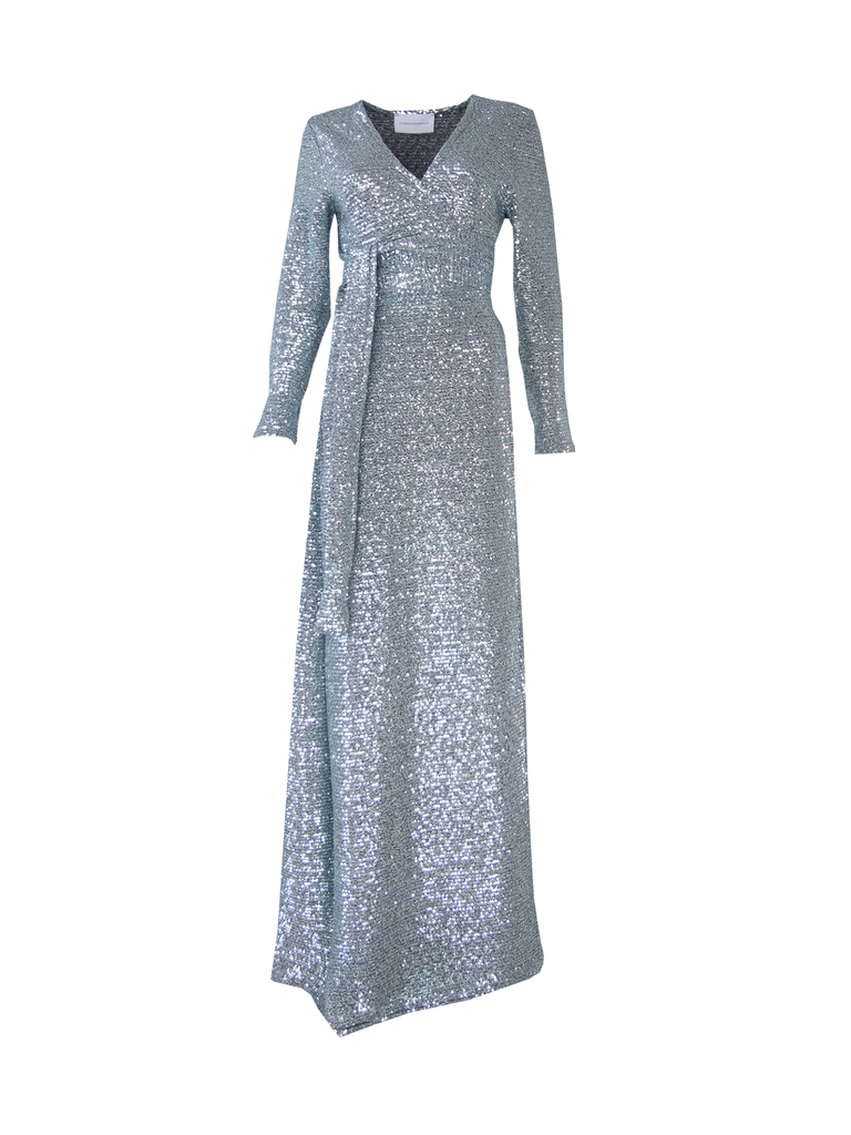 LETIZIA - long dress in light blue pailettes