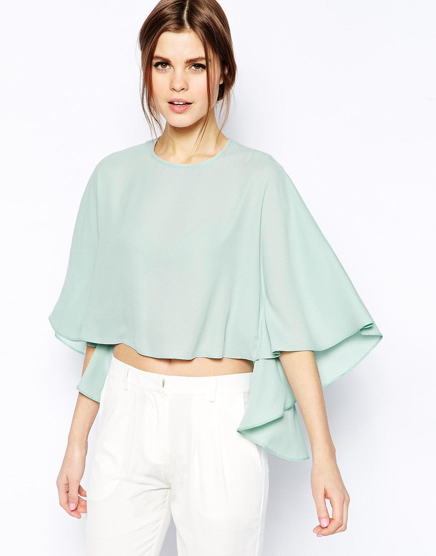 Cape Sleeve Boxy Crop Top