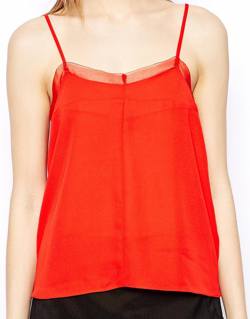 Mesh Trim Cami with Cross Back Thumbnail