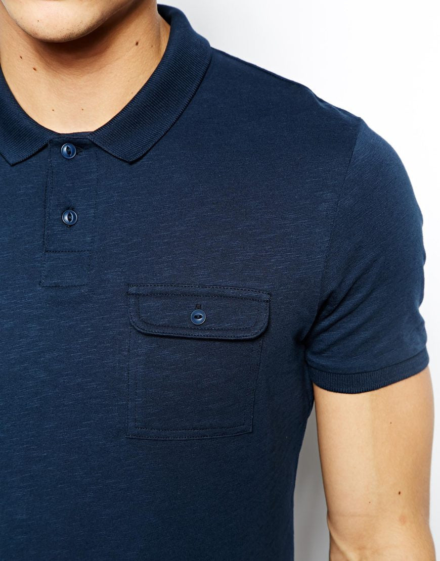 Polo in Slub Fabric with Pocket Thumbnail