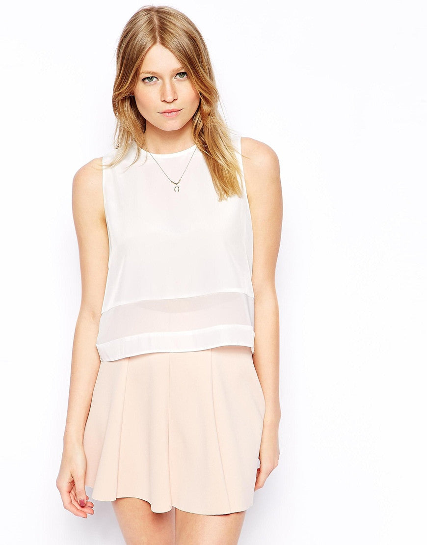 Sheer Panel Cropped Shell Top