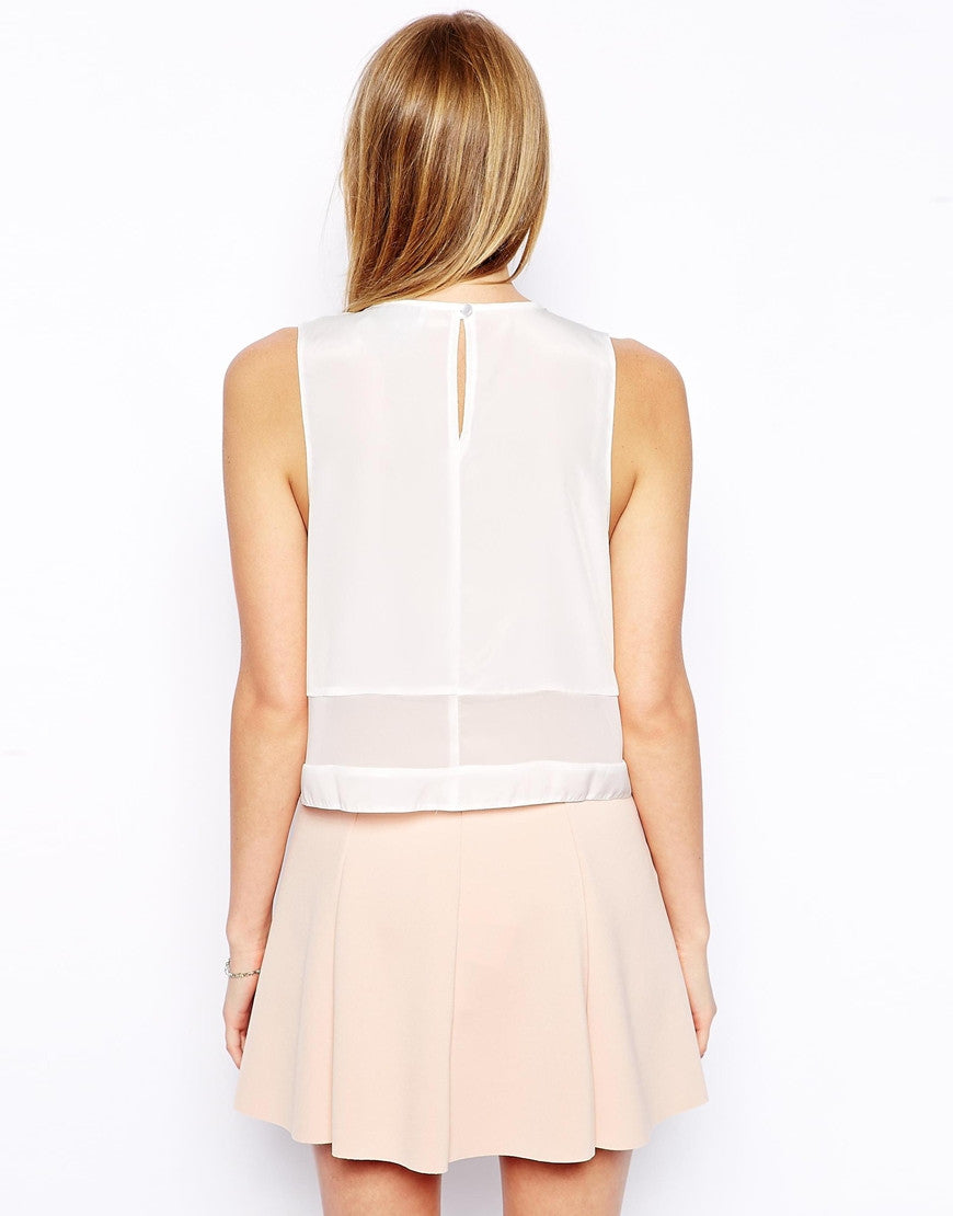 Sheer Panel Cropped Shell Top Thumbnail