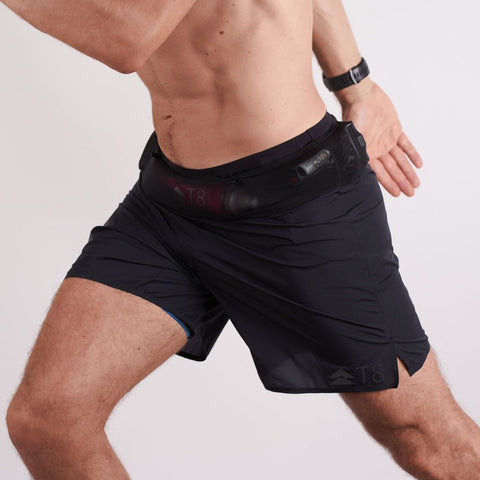 T8 Black Sherpa Shorts Mens