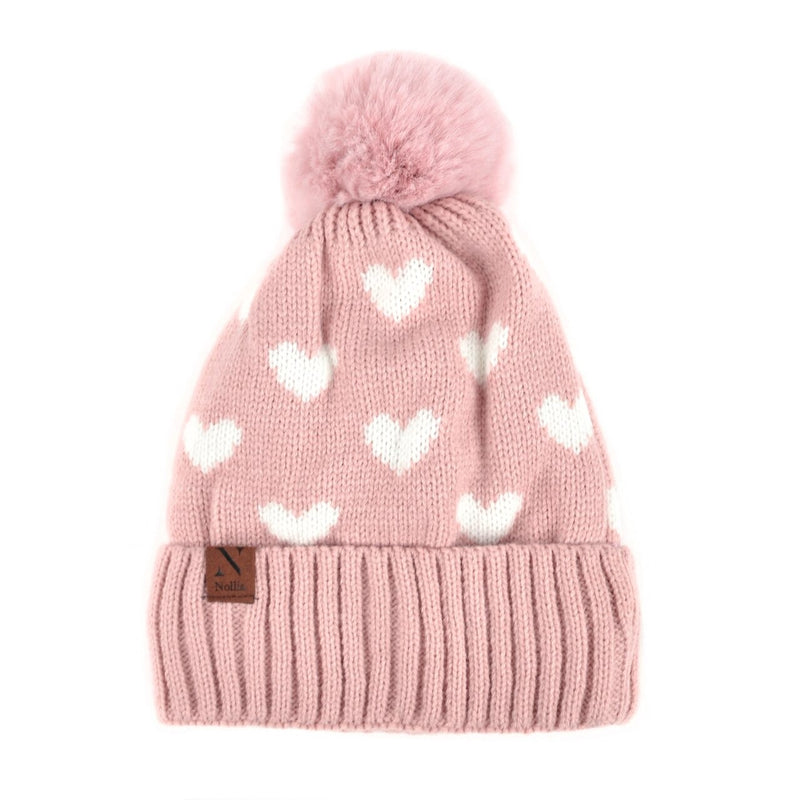 Women's Hearts and Pom Pom Knit Winter Hat - Pink