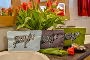 Oh La Vache Suede Make-up Bag with cow: Green, Baby Blue, Orange, Beige and Grey - Oh La Vache Boutique!