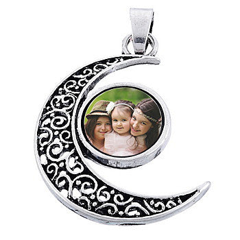 personalized photo pendant necklace moon filigree silver photo charm
