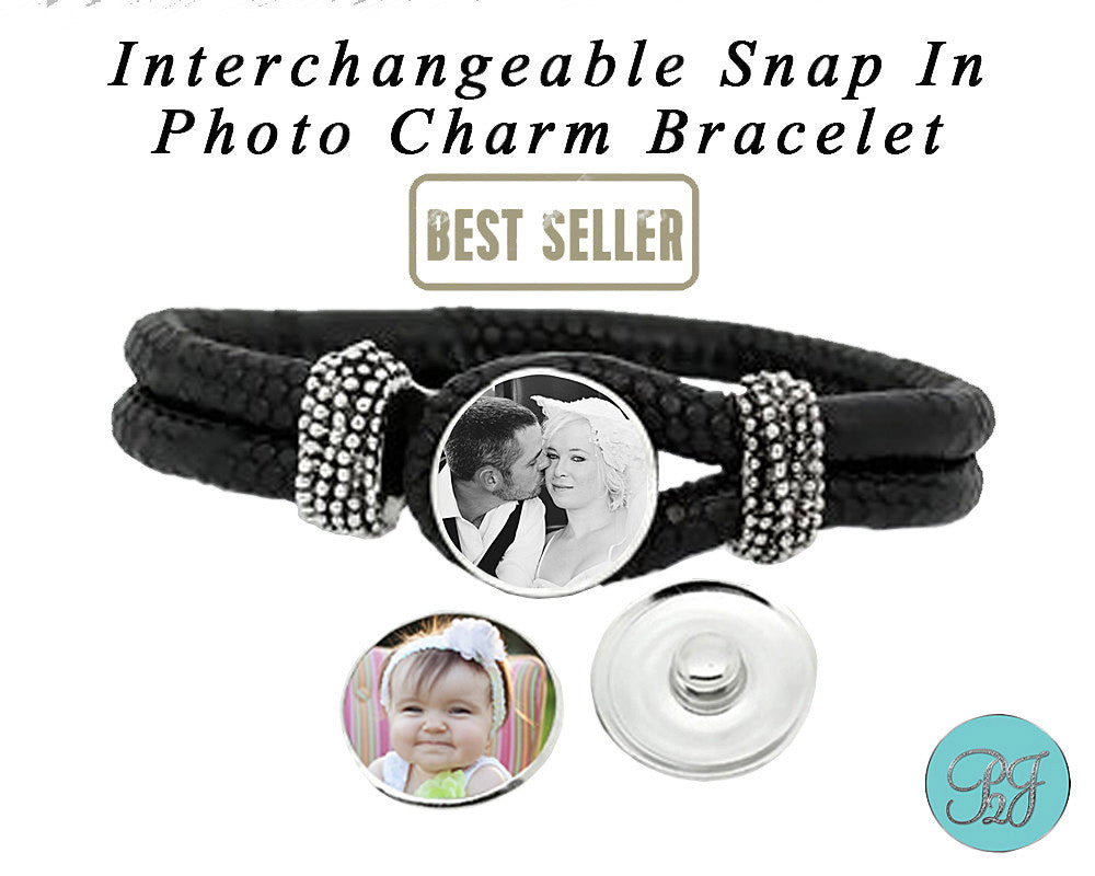 Personalized Leather Photo Bracelet Jewelry With Snap In Photo Charm. Personalized Photo Bracelet Jewelry /Mothers Day Gift For Her / Custom