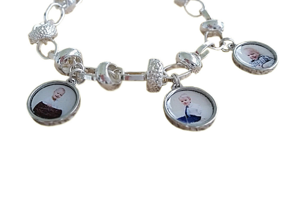 Photo Charm Bracelet. Sterling Silver Photo Bracelet with 3 Photo Charms mothers gift, birthday gift, anniversary gift Jewelry