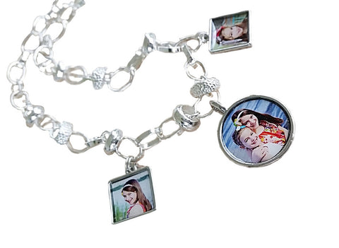 Photo Charm Necklace. Sterling Silver Photo Necklace with 3 Photo Charms,Round Sterling Beads.