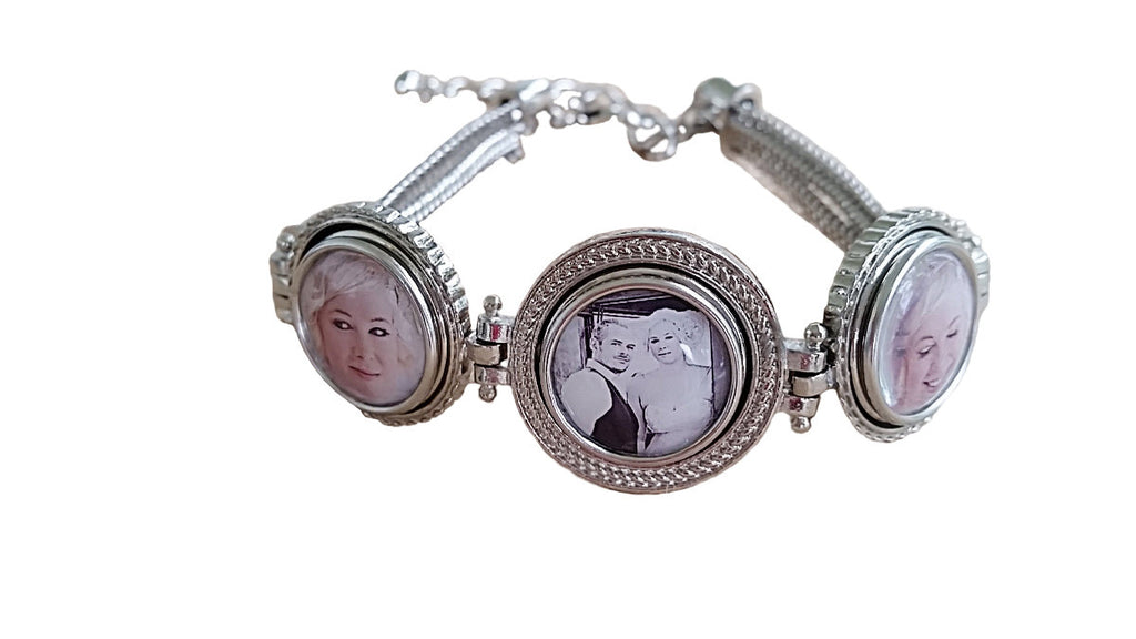 Multi Chain Photo Bracelet with 3 Interchangeable Snap In Photo Charms