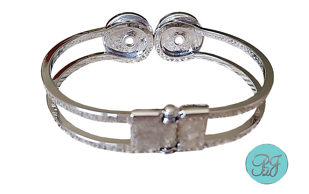 Photo Jewelry Silver Cuff Bracelet with 2 Snap in Charms / Snap Jewelry