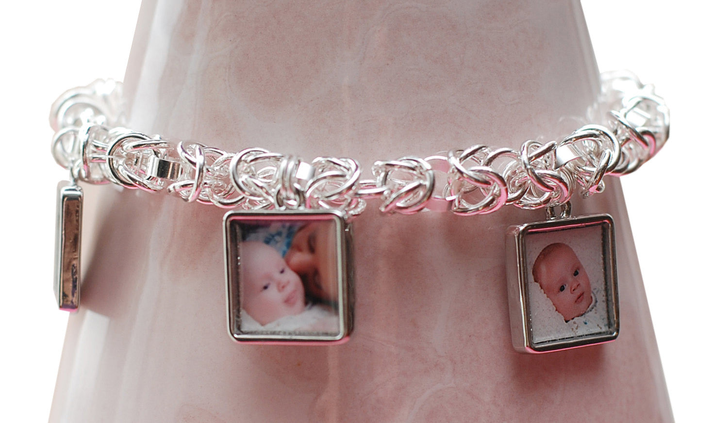 Sterling Silver Triple Photo Charm Chain Maille Bracelet Mothers Day Gift | Personalized Bracelet | Custom Jewelry Gift / Mothers Gift