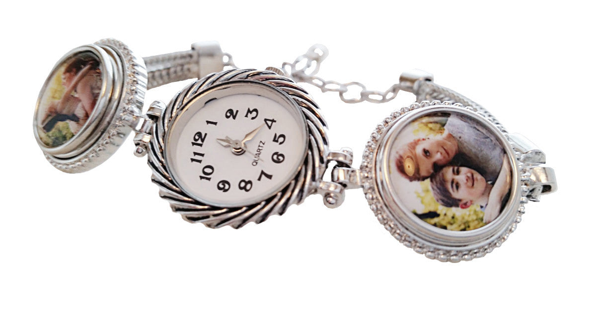 Personalized Photo Bracelet Watch Womens Watch/ Mothers Day Gift Snap Jewelry Interchangable Watch For Women. Charm /Gift For Mom Grandma